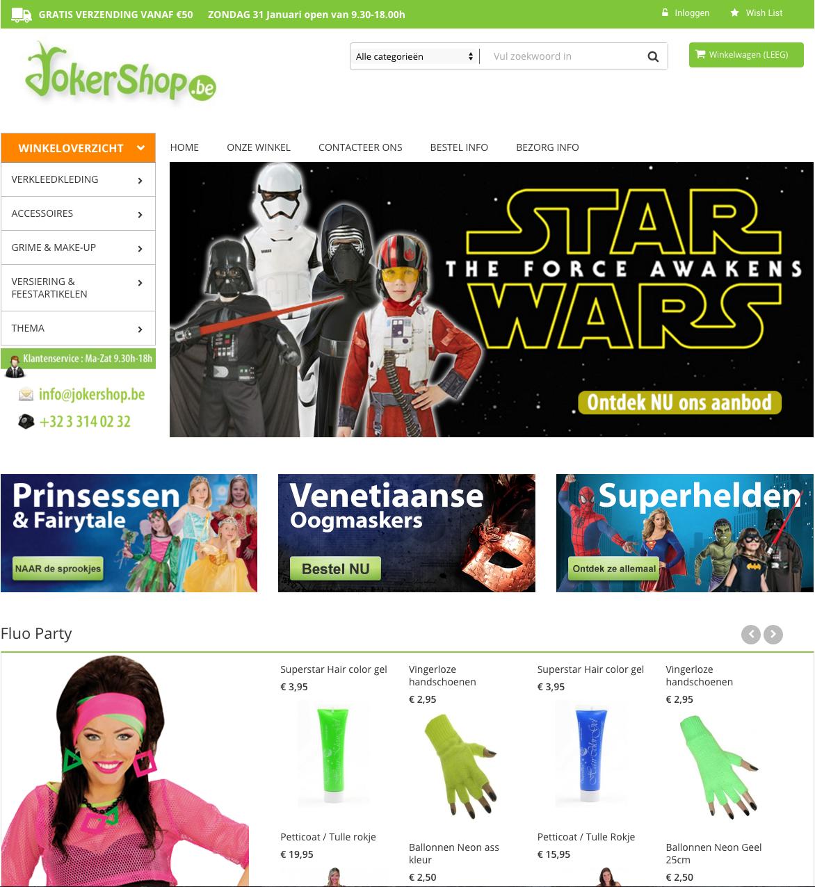 PrestaShop webshop voor feestwinkel Jokershop