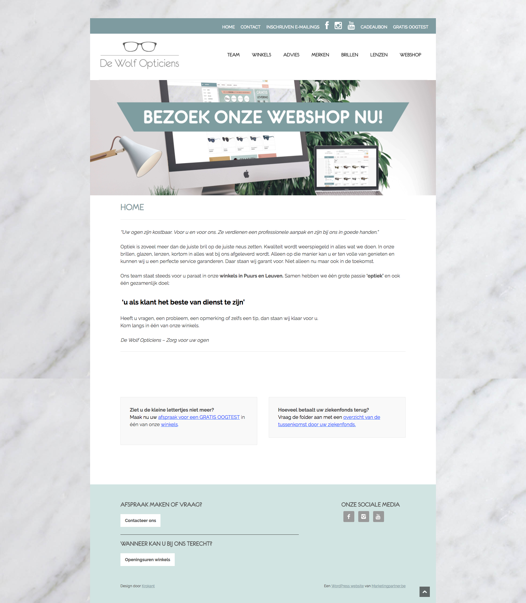 De Wolf Opticiens WordPress website