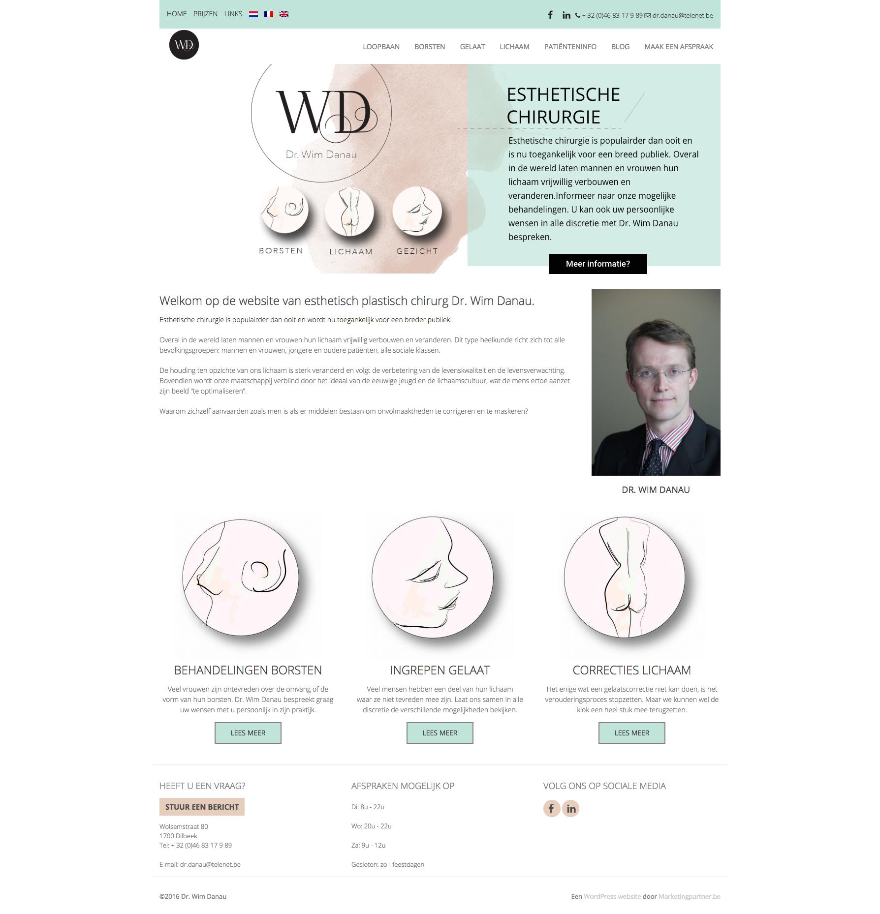 WordPress website voor esthetisch chirurg