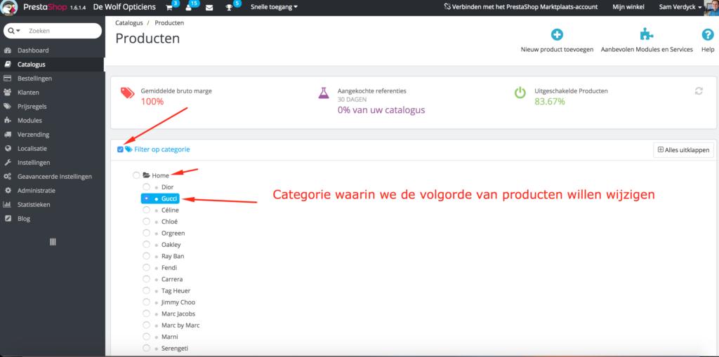 Sorteervolgorde van producten op categoriepagina