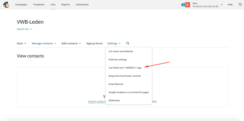 Mailchimp maillijst uitbreiden met extra velden optimalisatie mail