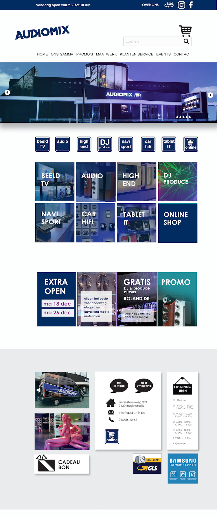 Ontwerp custom WordPress website HiFi winkel merkenpagina