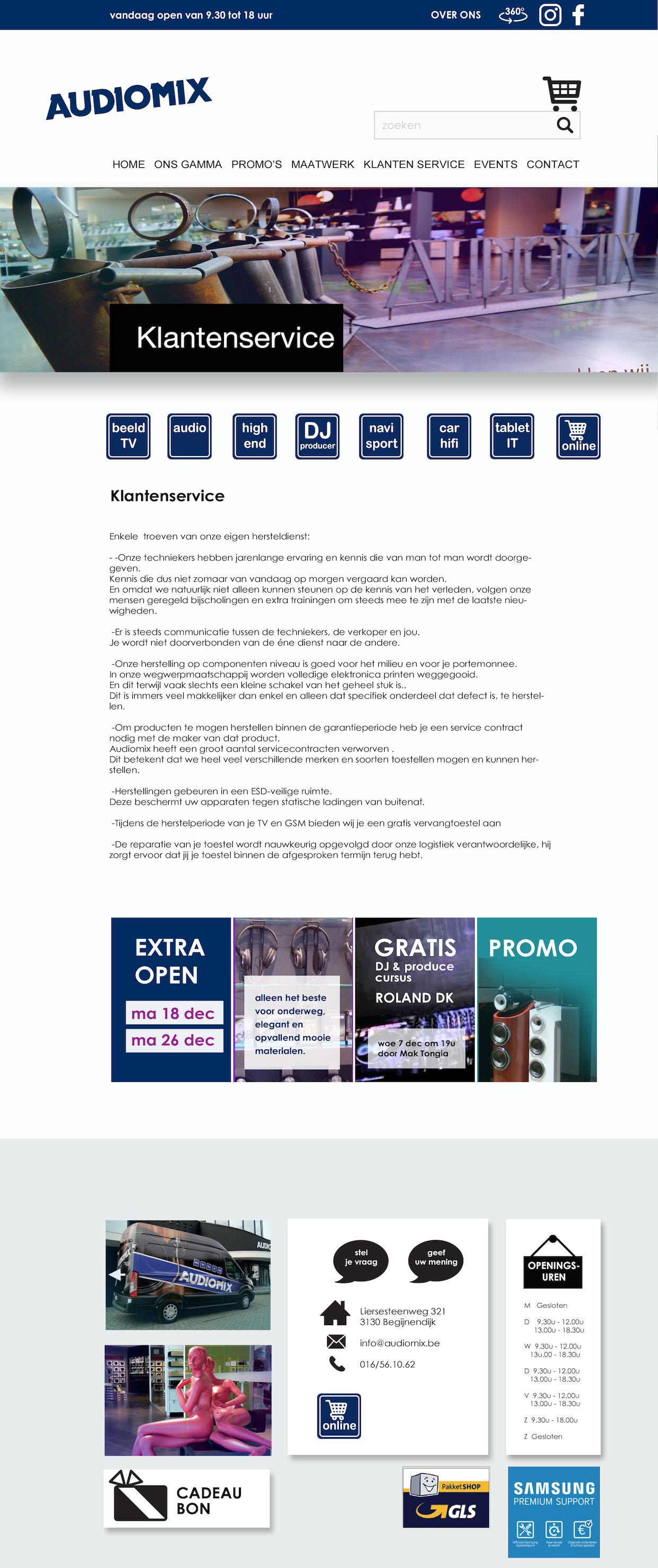 Ontwerp custom WordPress website HiFi winkel homepage