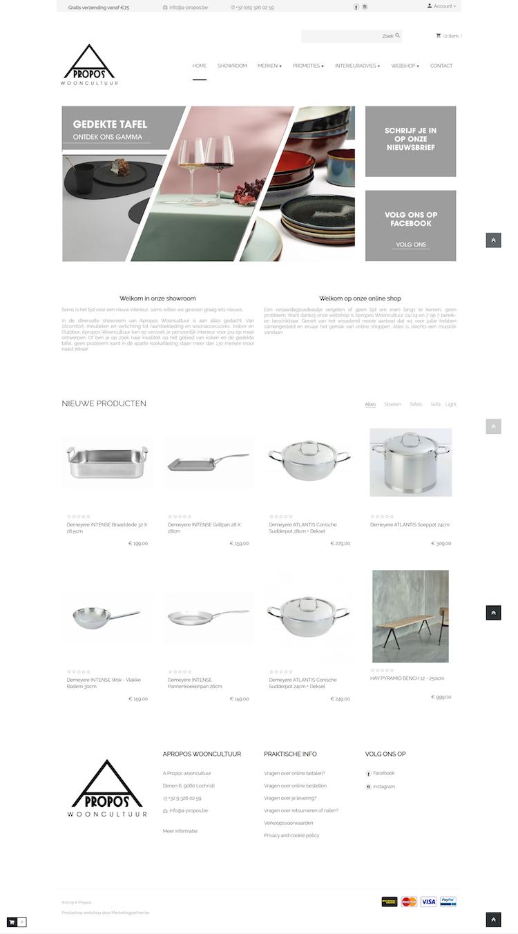 Prestashop webshop designmeubelen homepage