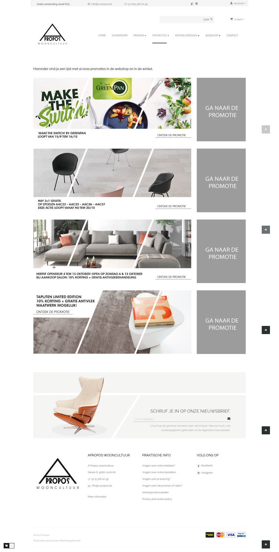Prestashop webshop designmeubelen showrrom promotiepagina