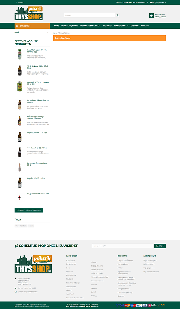 Prestashop online drankenhandel